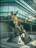 Magic Johnson erupting out of the earth. Or something like that.