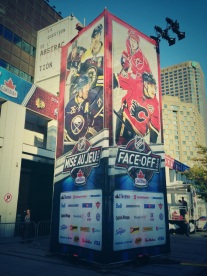 The Calgary banner features former Habs Michael Cammalleri
