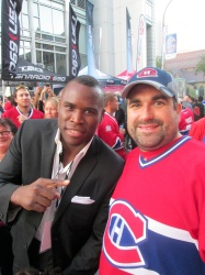 Adonis Stevenson with a random dude. (I'm kidding, that's my buddy Martin)