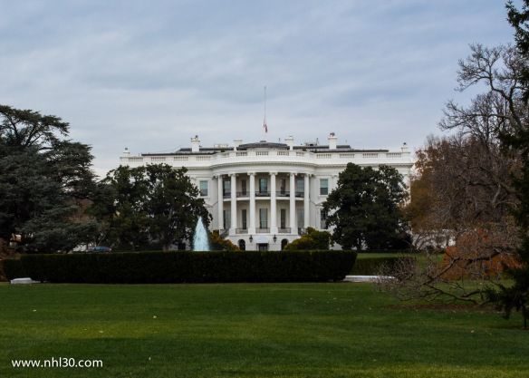 The White House. This photo is heavily zoomed in because you can't get inside of a quarter mile.