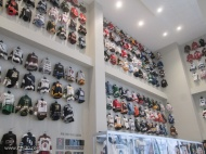Jerseys from various New Jersey hockey teams, from kids to pro
