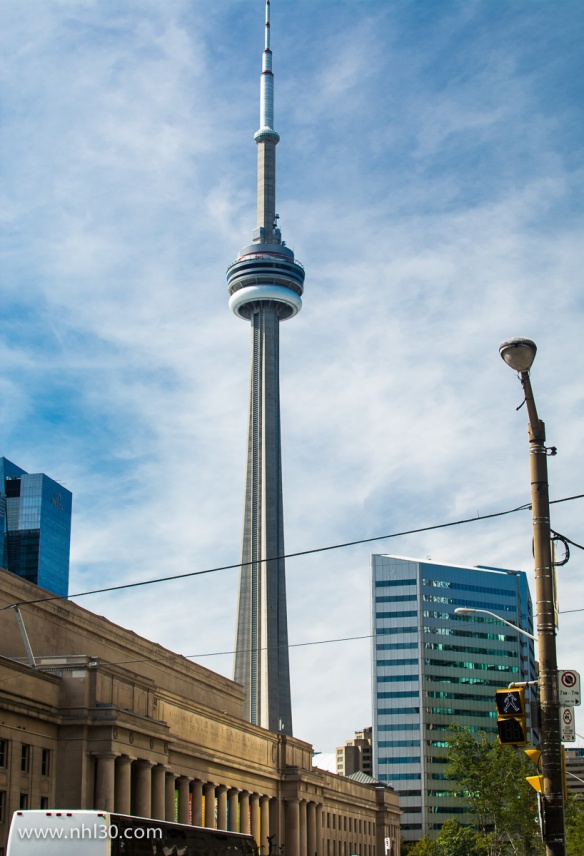 The CN Tower, towering over downtown Toronto, behind Union Station