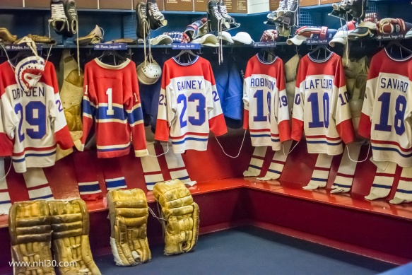 Replica of the classic Montreal Canadiens dressing room at the Forum