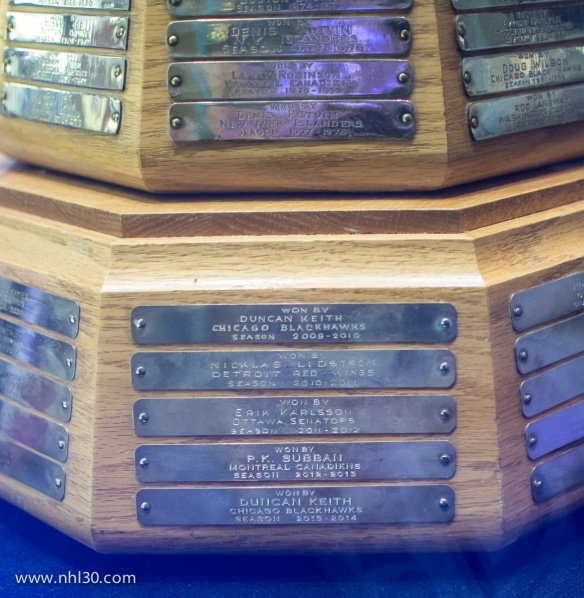 Close up of the Norris Trophy, awarded to the league's best defence man.