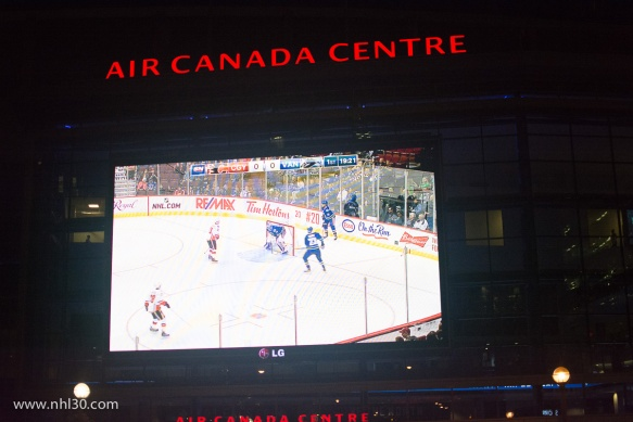 Huge screen on the side of the ACC. I assume they show the Leafs game?