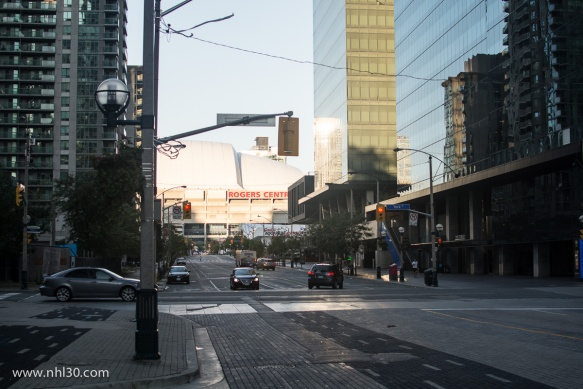 As you step out of the Air Canada Centre, the Rogers Centre, home of the Blue Jays, is a few blocks away
