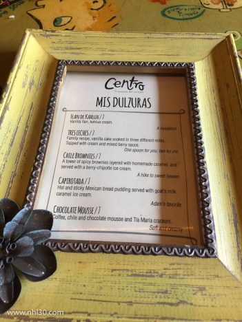 The dessert menu at Centro. What to choose!