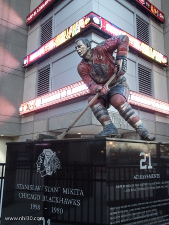 Hawks great Stan Mikita is immortalized in front of the arena.